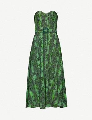 ROTATE BIRGER CHRISTENSEN Peggy snakeskin-print woven midi dress