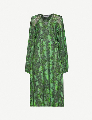 ROTATE BIRGER CHRISTENSEN Kira woven midi wrap dress