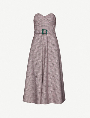 ROTATE BIRGER CHRISTENSEN Peggy strapless belted woven midi dress
