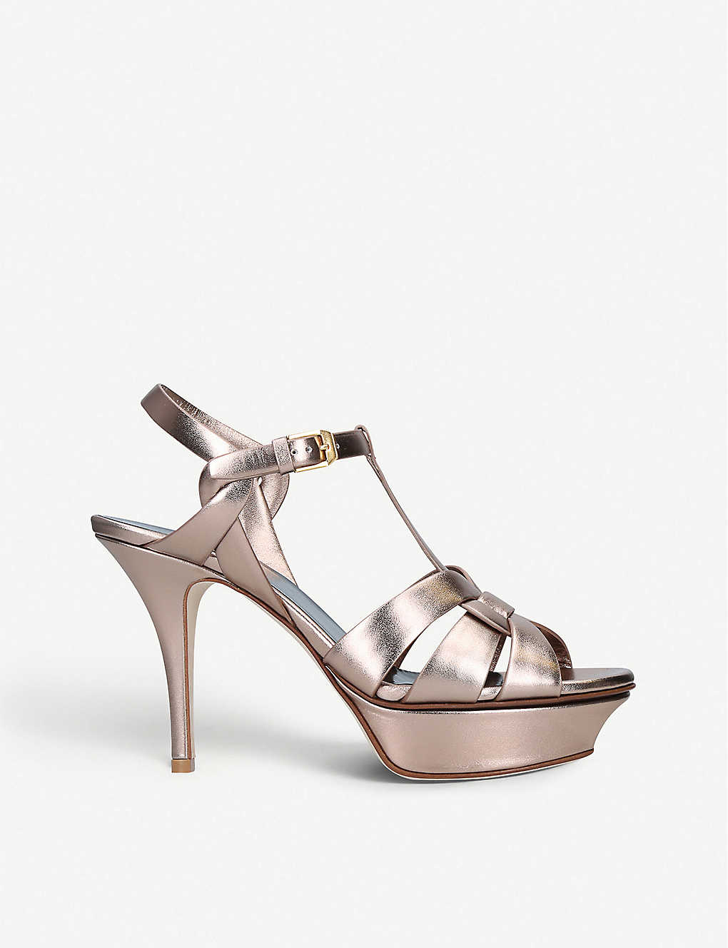 SAINT LAURENT: Tribute 75 metallic-leather platform sandals