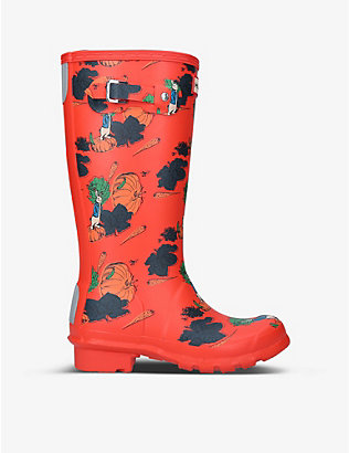 HUNTER: Peter Rabbit-print synthetic wellington boots 7-8 years