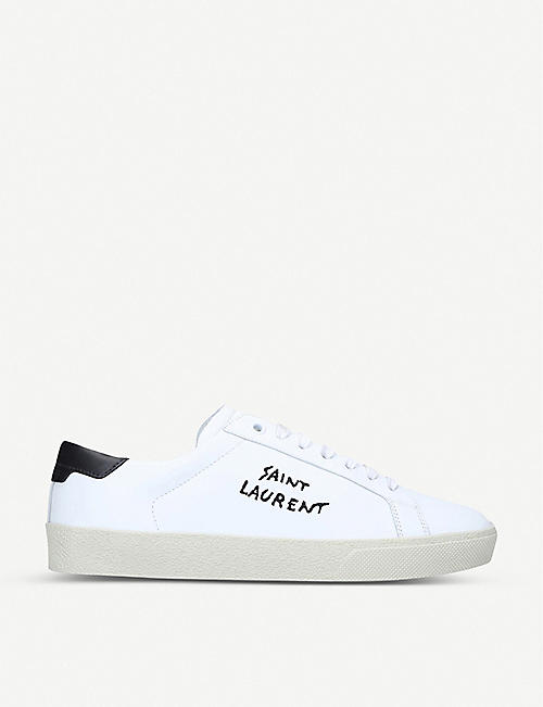 SAINT LAURENT: Court Classic brand-embroidered leather low-top trainers