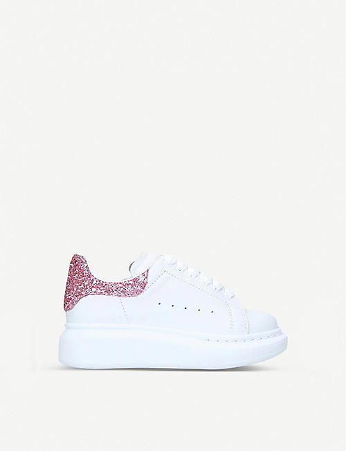 ALEXANDER MCQUEEN: Runway glitter-embellished leather low-top trainers 2-9 years