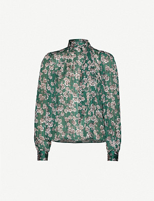 TOPSHOP Pussybow floral-print crepe blouse