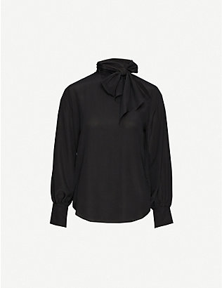 TOPSHOP: Tie-neck silk-crepe de chine shirt
