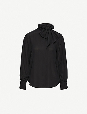 TOPSHOP Tie-neck silk-crepe de chine shirt