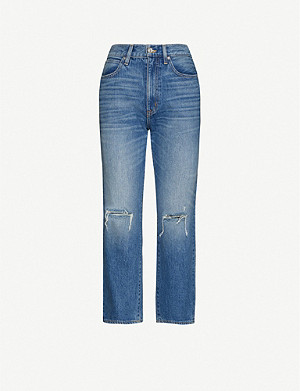 SLVRLAKE London distressed cropped high-rise jeans