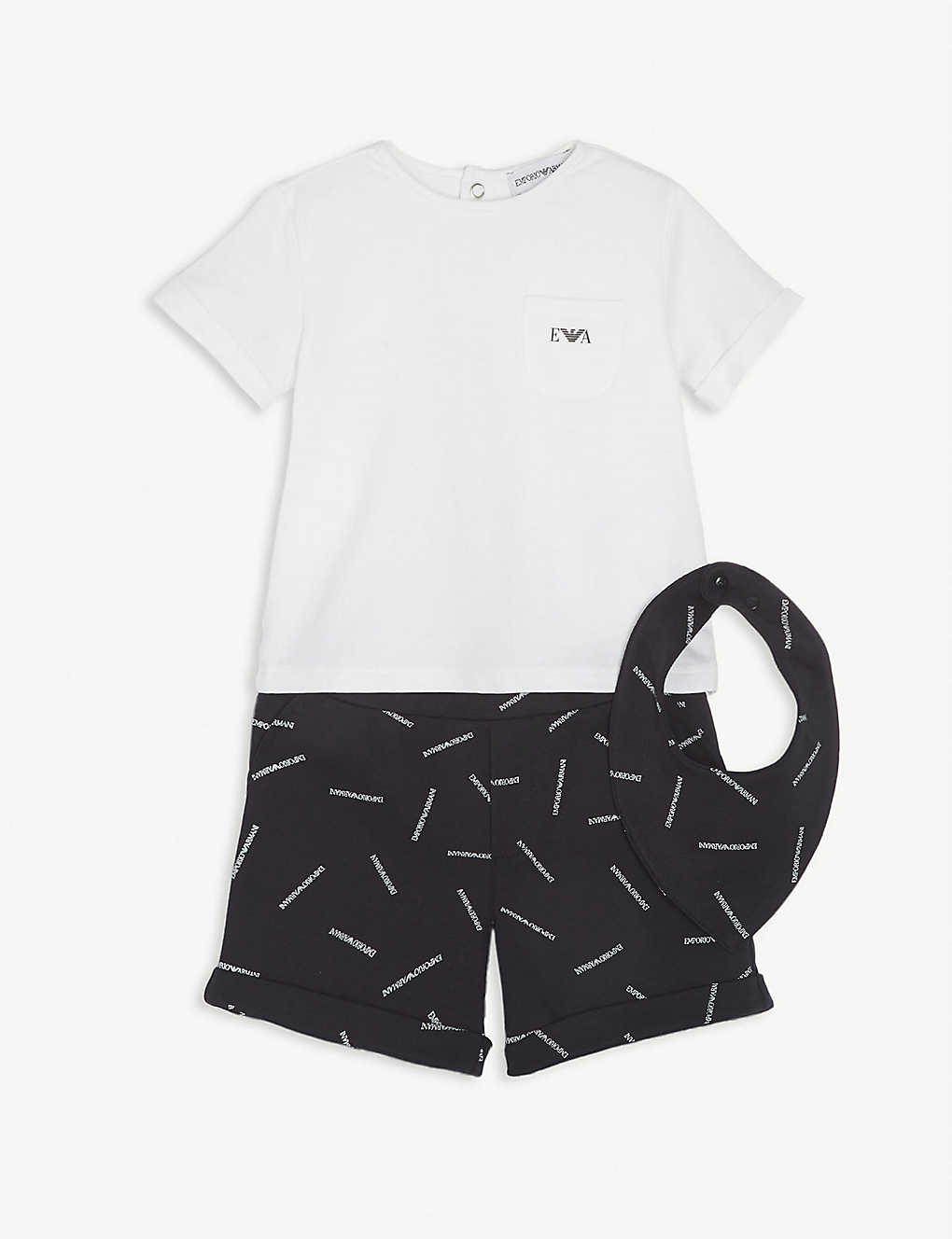 EMPORIO ARMANI: Logo-printed cotton T-shirt shorts and bib set 1-12 months