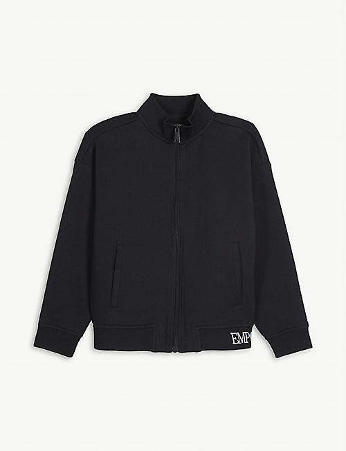 EMPORIO ARMANI: Logo zip-through cotton-blend tracksuit top 4-16 years