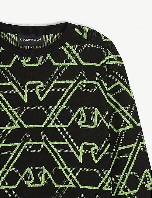 EMPORIO ARMANI Logo pattern jumper 4-12 years