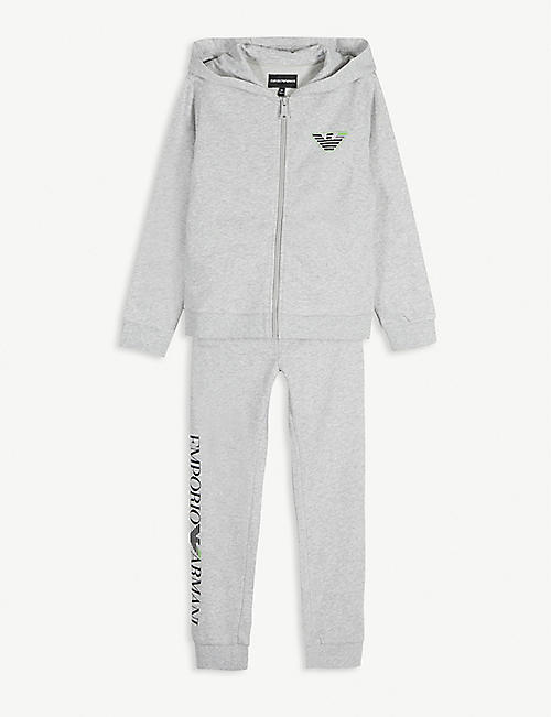 EMPORIO ARMANI Logo cotton hooded tracksuit 4-12 years