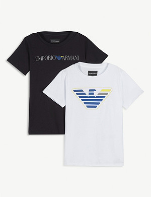 EMPORIO ARMANI Eagle logo cotton T-shirt pack of two 4-14 years