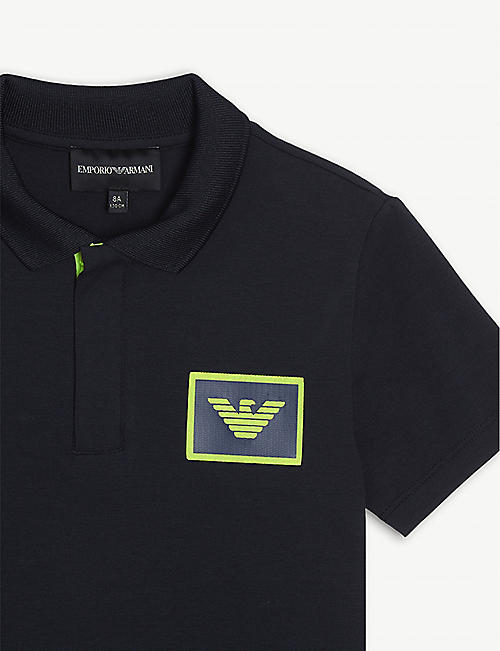 EMPORIO ARMANI Logo patch cotton polo shirt 4-16 years