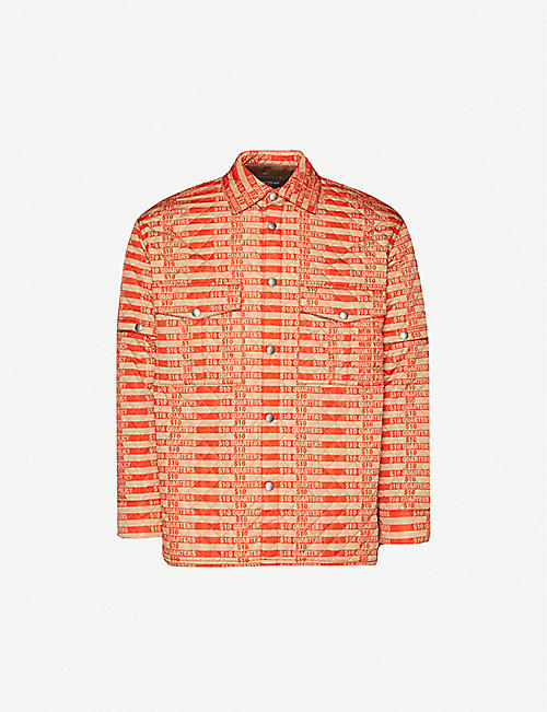 PRIVATE POLICY Logo-print quilted shell shirt jacket