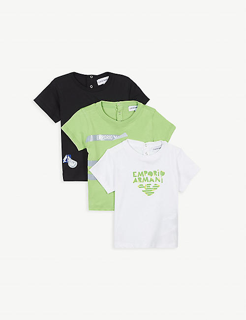 EMPORIO ARMANI Pack of three logo-print cotton-jersey T-shirts 6-36 months