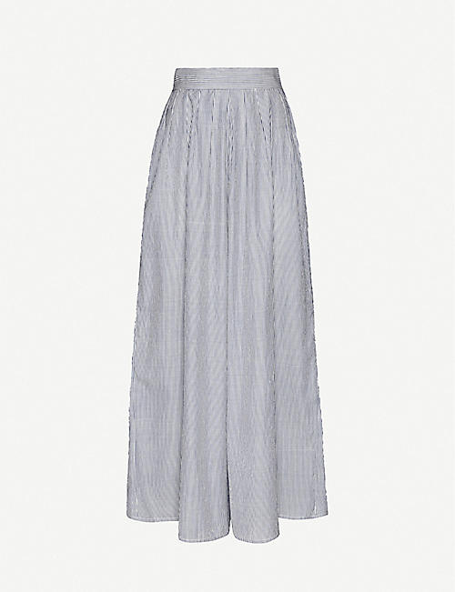 ANAAK Annex striped wide-leg high-rise cotton trousers