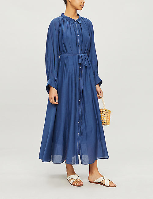 ANAAK Cleo gathered cotton-blend midi dress