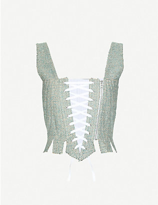 DILARA FINDIKOGLU: Frilled-trim tweed corset