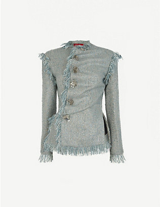 DILARA FINDIKOGLU: Asymmetric frayed tweed jacket