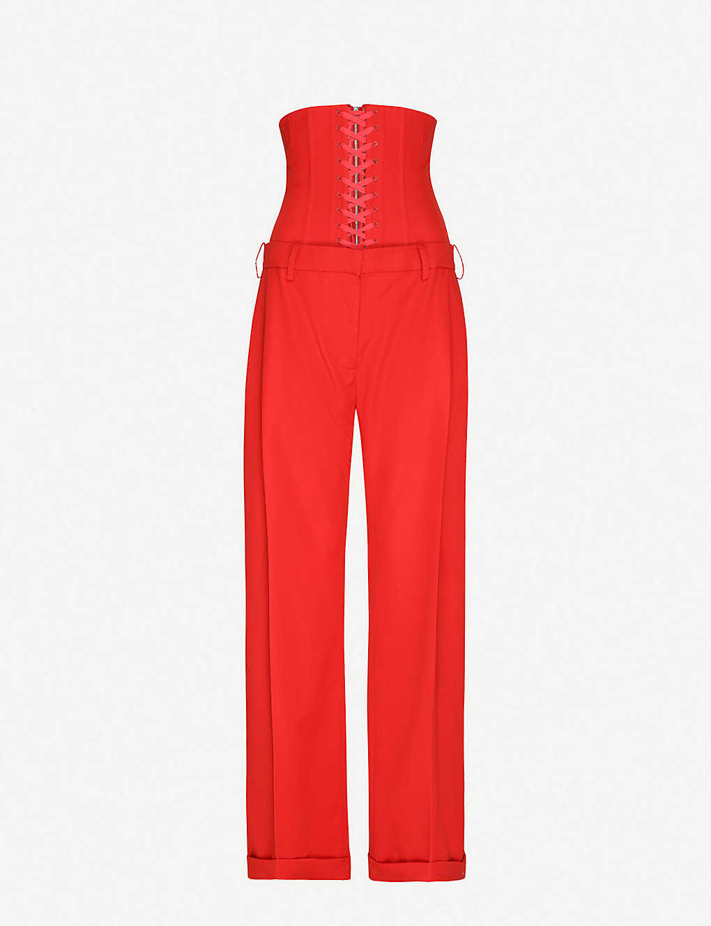 DILARA FINDIKOGLU: Corset-waist high-rise woven trousers