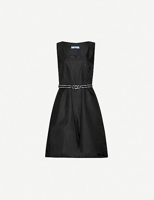PRADA Logo-patch shell mini dress