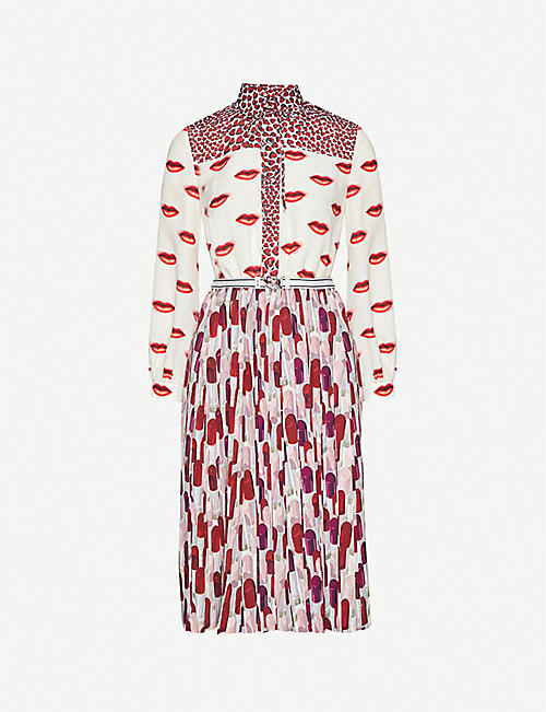 PRADA: Lip-print crepe mini dress