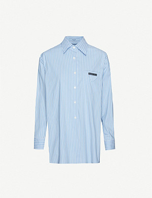 PRADA Striped logo-detail cotton-blend shirt