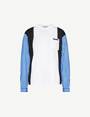 PRADA Striped logo-print cotton-jersey top