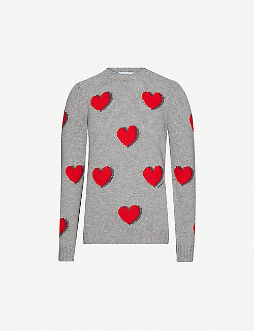 PRADA Heart-intarsia wool-and-cashmere blend jumper