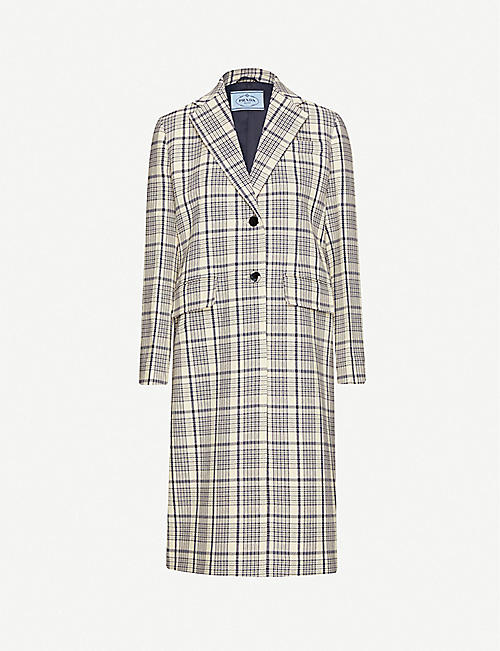 PRADA: Checked wool coat