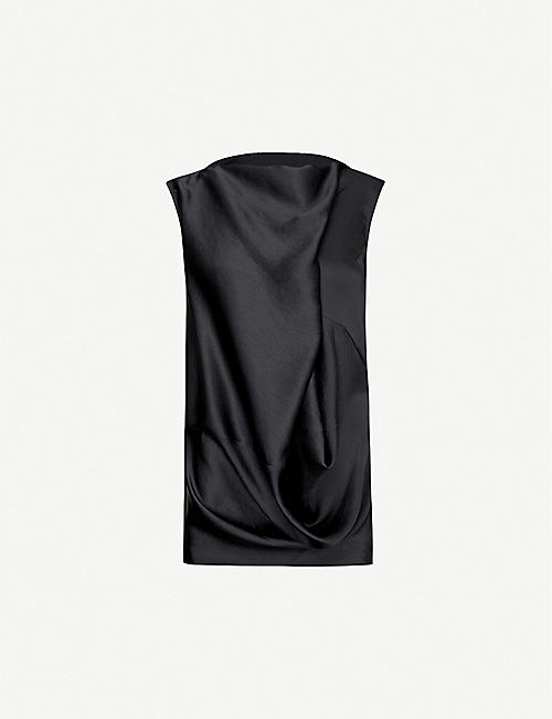 RICK OWENS Draped sleeveless crepe top