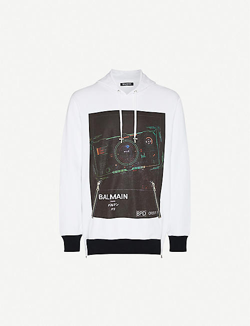 BALMAIN Graphic-print cotton-jersey hoody