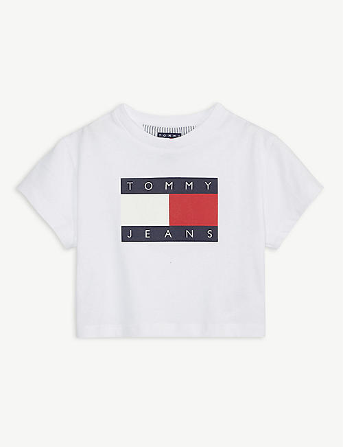 TOMMY HILFIGER: Flag logo cotton cropped T-shirt 4-12 years