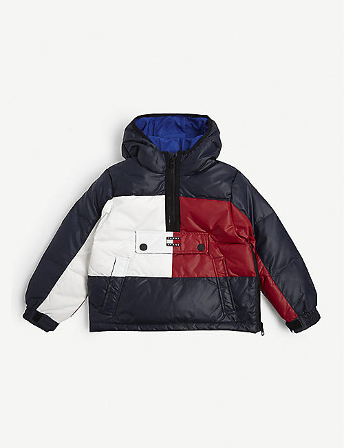 TOMMY HILFIGER Colour-block padded down puffer jacket 4-12 years