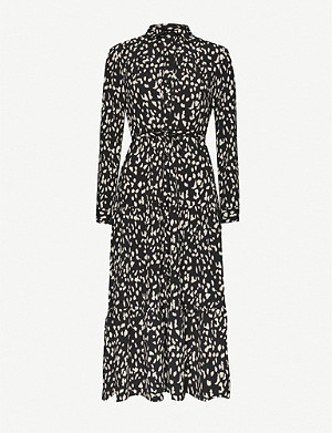 TOPSHOP Abstract-print tiered crepe midi shirt dress