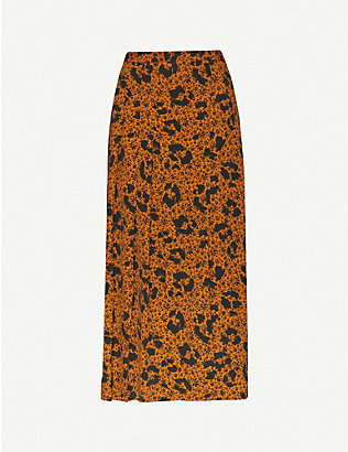 TOPSHOP: Animal and floral-print high-rise crepe midi skirt