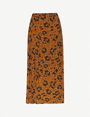TOPSHOP Animal and floral-print high-rise crepe midi skirt