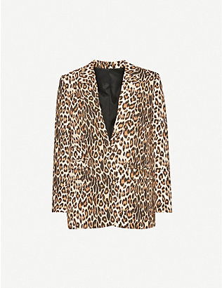 THE KOOPLES: Leopard-print crepe single-breasted blazer