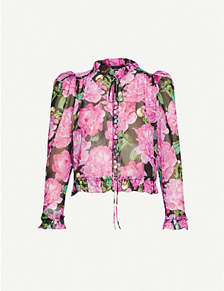 THE KOOPLES: Floral-print satin-crepe blouse