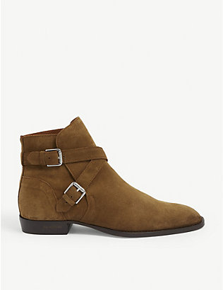 THE KOOPLES: Jodhpur buckled suede ankle boots