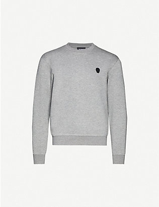 THE KOOPLES: Logo-badge cotton-jersey sweatshirt