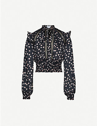 THE KOOPLES SPORT: Floral-print satin-crepe blouse