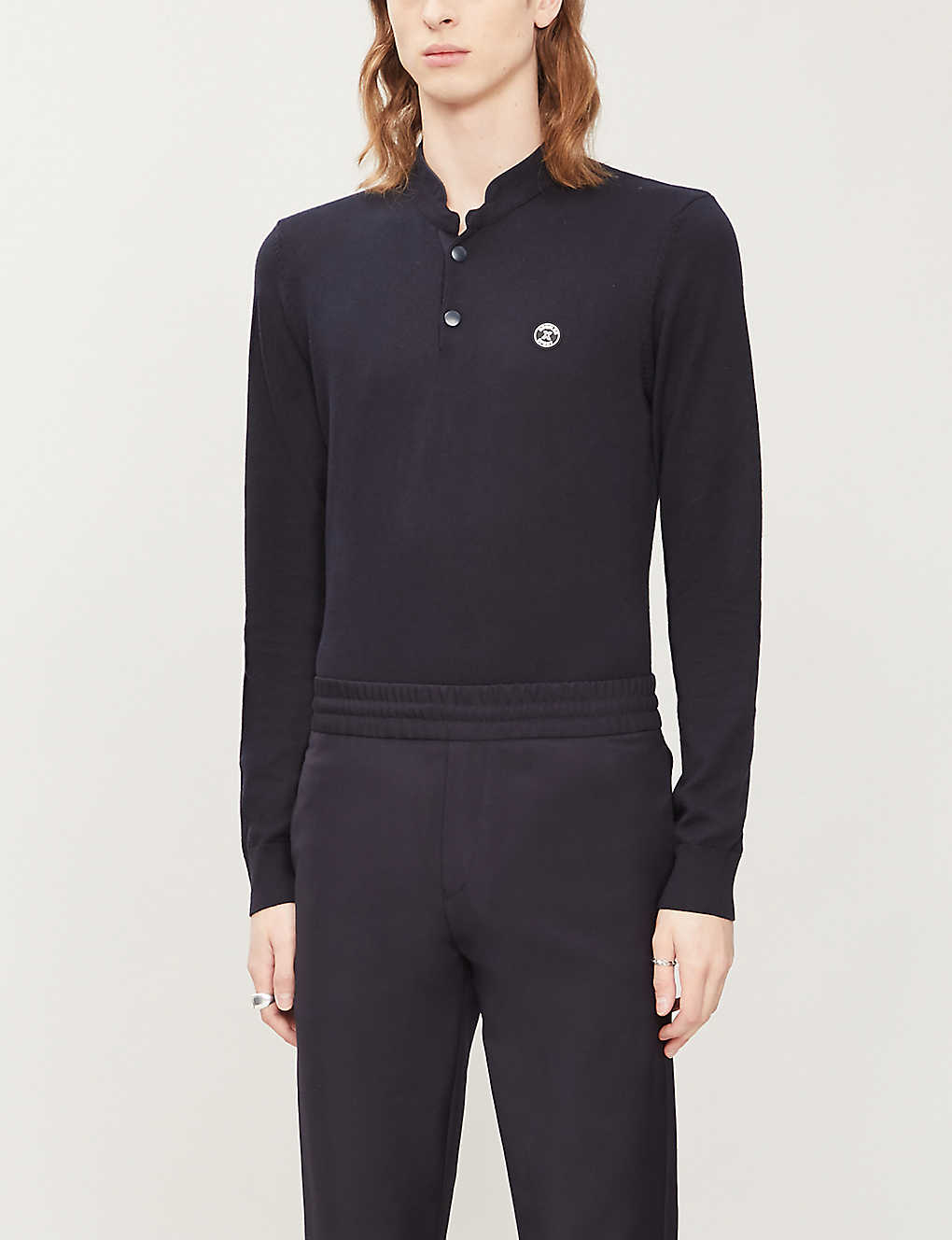 THE KOOPLES SPORT: Logo-patch cotton and wool-blend polo shirt