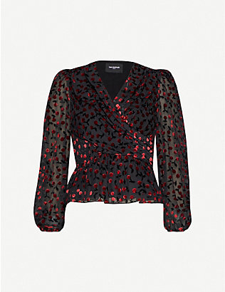 THE KOOPLES: Abstract-print velvet wrap blouse