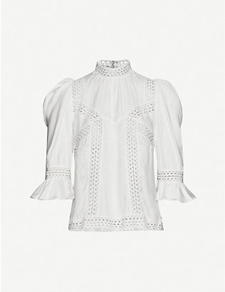 THE KOOPLES: Lace ruffled crepe-satin top