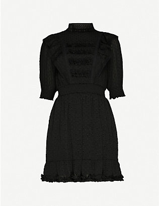 THE KOOPLES: Devoré ruffle trim chiffon mini dress