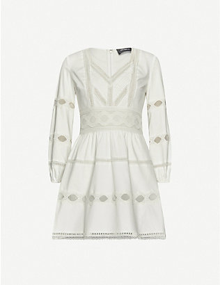 THE KOOPLES: Lace-insert cotton-stretch jersey mini dress