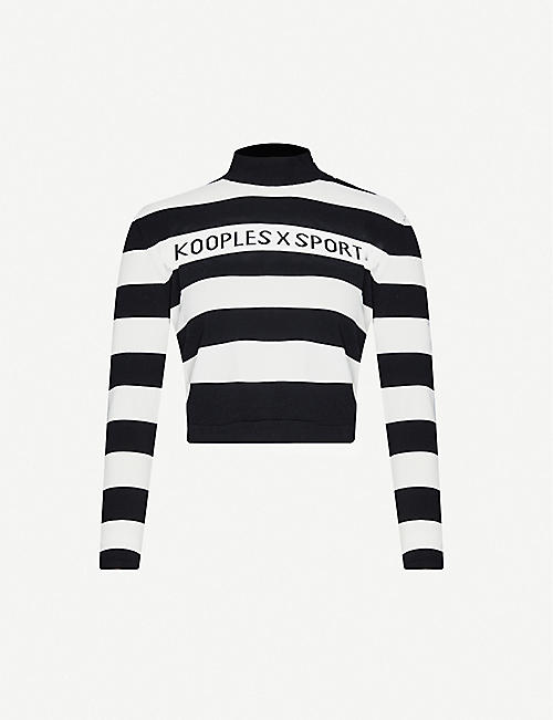 THE KOOPLES SPORT High-neck logo-embroidered stretch-knit jumper