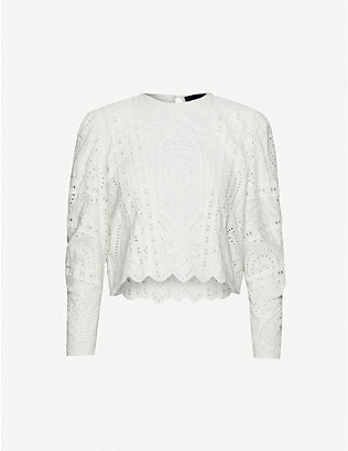 THE KOOPLES: Cropped broderie anglaise cotton top
