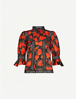 THE KOOPLES: Floral-print high-neck crepe blouse